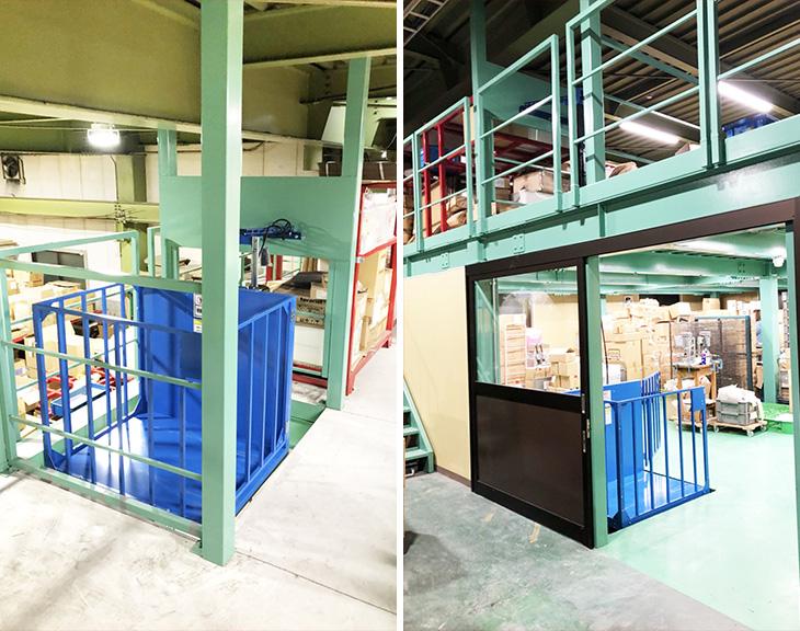 電動リフトを倉庫に設置/奈良県H企画印刷物会社さま