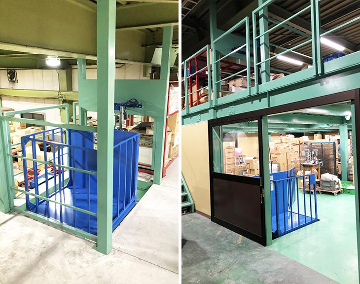 ブルーリフトを倉庫の1階~2階上部に設置