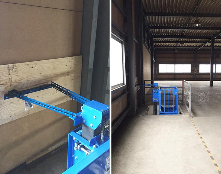 ブルーリフトの振れ止めと設置した倉庫