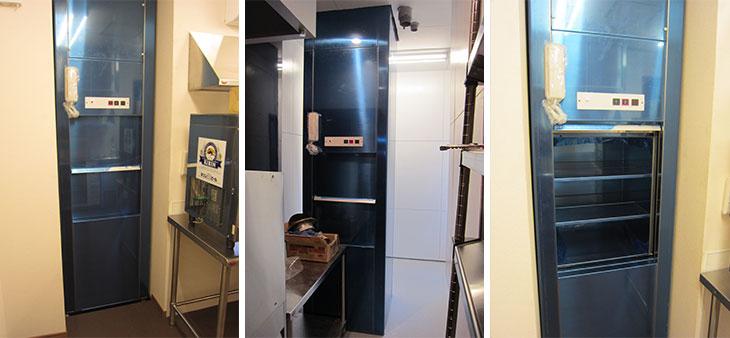 焼肉屋に設置された小荷物専用昇降機
