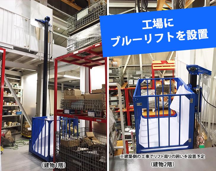 台車を使って資材を2階に運ぶためブルーリフト(小型リフト)を設置|兵庫県工場