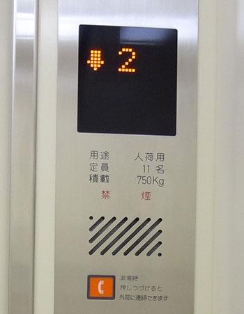 人荷用エレベーターの標識の提示