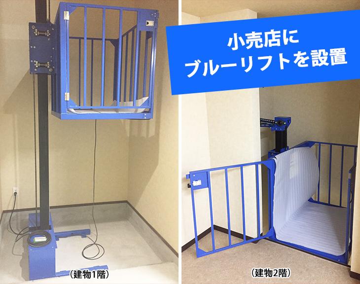 資格がなくても使用できる昇降機、ブルーリフト(小型リフト)を設置|大阪府小売店