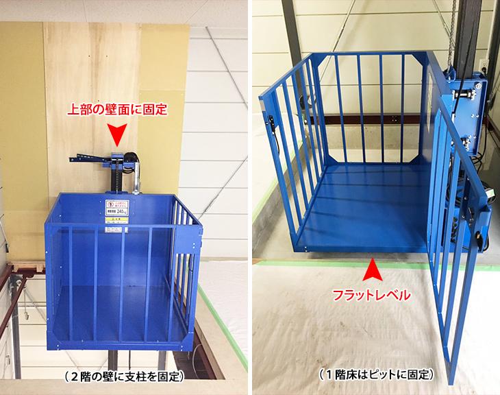 スポーツ用品を扱うお店に小型リフトを設置/山口県M用品店